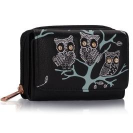Peněženka LS Fashion LSP1045 černá s motivem soviček